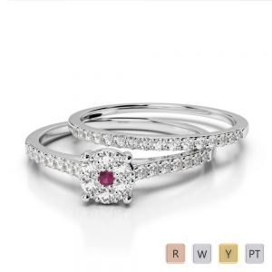 Gold / Platinum Round cut Ruby and Diamond Bridal Set Ring AGDR-1053