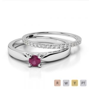 Gold / Platinum Round cut Ruby and Diamond Bridal Set Ring AGDR-1055