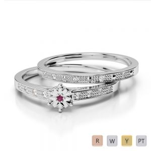 Gold / Platinum Round cut Ruby and Diamond Bridal Set Ring AGDR-1056