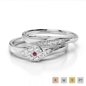 Gold / Platinum Round cut Ruby and Diamond Bridal Set Ring AGDR-1057