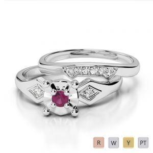 Gold / Platinum Round cut Ruby and Diamond Bridal Set Ring AGDR-1058