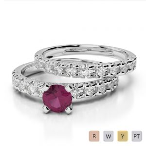 Gold / Platinum Round cut Ruby and Diamond Bridal Set Ring AGDR-1144