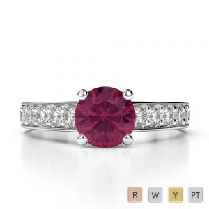 Gold / Platinum Round Cut Ruby and Diamond Engagement Ring AGDR-1202