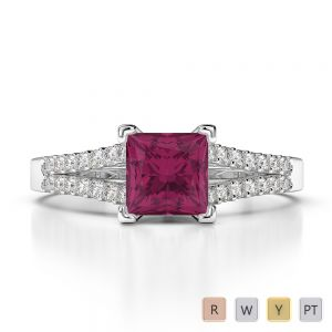 Gold / Platinum Round and Princess Cut Ruby and Diamond Engagement Ring AGDR-1211