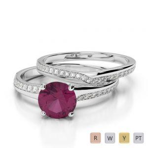 Gold / Platinum Diamond & Gemstone Bridal Set Ring AGDR-2015
