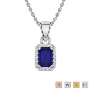 Emerald Shape Sapphire and Diamond Necklaces in Gold / Platinum AGDNC-1062
