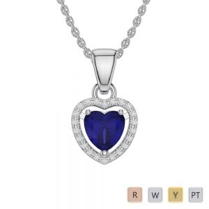 Heart Shape Sapphire and Diamond Necklaces in Gold / Platinum AGDNC-1066