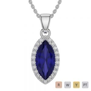 Marquise Shape Sapphire and Diamond Necklaces in Gold / Platinum AGDNC-1067