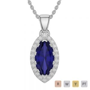 Marquise Shape Sapphire and Diamond Necklaces in Gold / Platinum AGDNC-1068