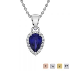 Pear Shape Sapphire and Diamond Necklaces in Gold / Platinum AGDNC-1074