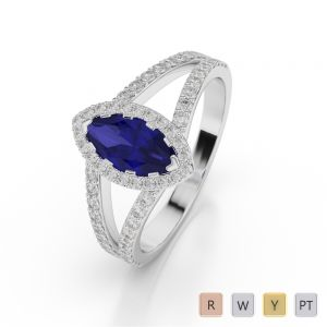 Gold / Platinum Marquise Shape Sapphire and Diamond Ring AGDR-1068