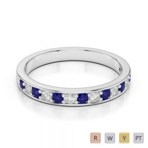2.5 MM Gold / Platinum Round Cut Blue Sapphire and Diamond Half Eternity Ring AGDR-1083