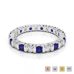 2.5 MM Gold / Platinum Round Cut Blue Sapphire and Diamond Full Eternity Ring AGDR-1093