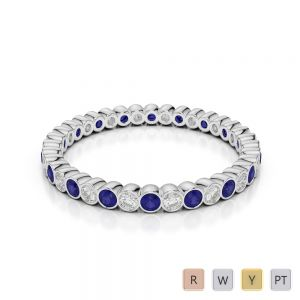 2 MM Gold / Platinum Round Cut Blue Sapphire and Diamond Full Eternity Ring AGDR-1098