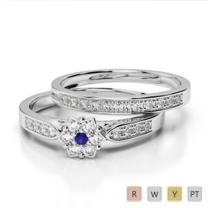 Gold / Platinum Round cut Sapphire and Diamond Bridal Set Ring AGDR-1051