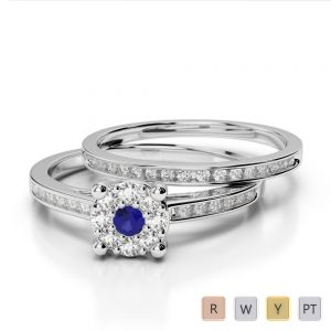 Gold / Platinum Round cut Sapphire and Diamond Bridal Set Ring AGDR-1052