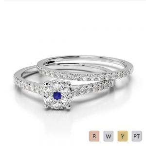 Gold / Platinum Round cut Sapphire and Diamond Bridal Set Ring AGDR-1053