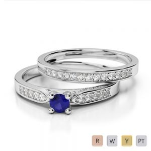 Gold / Platinum Round cut Sapphire and Diamond Bridal Set Ring AGDR-1054