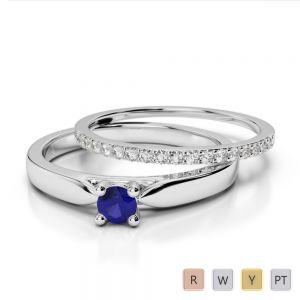 Gold / Platinum Round cut Sapphire and Diamond Bridal Set Ring AGDR-1055