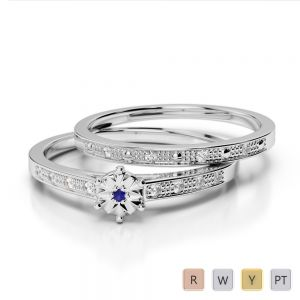 Gold / Platinum Round cut Sapphire and Diamond Bridal Set Ring AGDR-1056