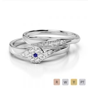 Gold / Platinum Round cut Sapphire and Diamond Bridal Set Ring AGDR-1057