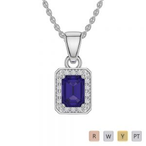 Gold / Platinum Emerald Tanzanite Pendant Set AGPS-1063