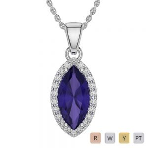 Marquise Shape Tanzanite and Diamond Necklaces in Gold / Platinum AGDNC-1067