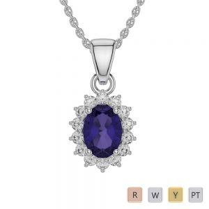 Gold / Platinum Oval Tanzanite Pendant Set AGPS-1071