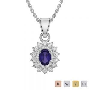 Gold / Platinum Oval Tanzanite Pendant Set AGPS-1073