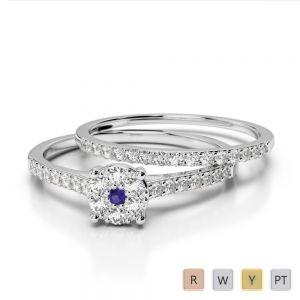 Gold / Platinum Round cut Tanzanite and Diamond Bridal Set Ring AGDR-1053