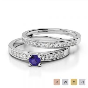 Gold / Platinum Round cut Tanzanite and Diamond Bridal Set Ring AGDR-1054
