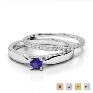 Gold / Platinum Round cut Tanzanite and Diamond Bridal Set Ring AGDR-1055