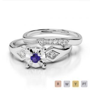 Gold / Platinum Round cut Tanzanite and Diamond Bridal Set Ring AGDR-1058