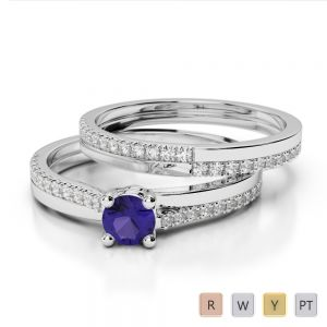 Gold / Platinum Round cut Tanzanite and Diamond Bridal Set Ring AGDR-1060