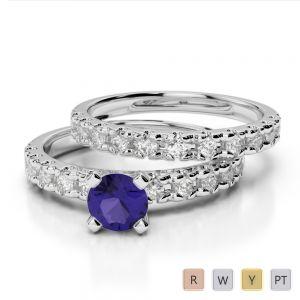 Gold / Platinum Round cut Tanzanite and Diamond Bridal Set Ring AGDR-1144