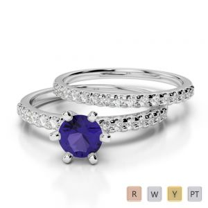 Gold / Platinum Round cut Tanzanite and Diamond Bridal Set Ring AGDR-1145
