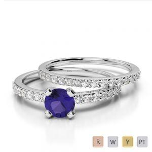 Gold / Platinum Round cut Tanzanite and Diamond Bridal Set Ring AGDR-1146
