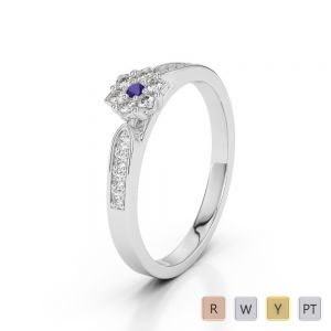 Gold / Platinum Round Cut Tanzanite and Diamond Engagement Ring AGDR-1162