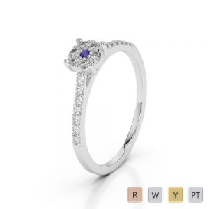 Gold / Platinum Round Cut Tanzanite and Diamond Engagement Ring AGDR-1164