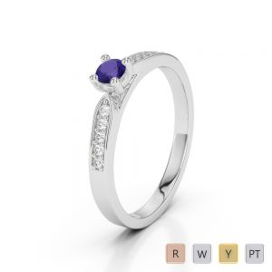 Gold / Platinum Round Cut Tanzanite and Diamond Engagement Ring AGDR-1165