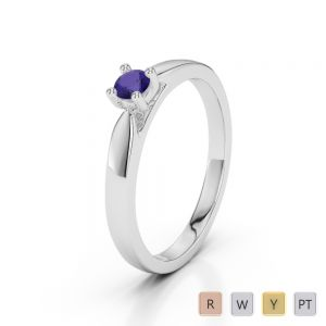 Gold / Platinum Round Cut Tanzanite Engagement Ring AGDR-1166