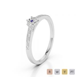 Gold / Platinum Round Cut Tanzanite and Diamond Engagement Ring AGDR-1167