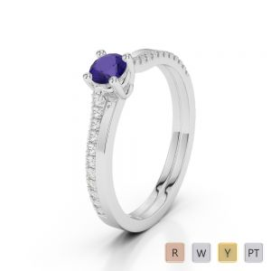 Gold / Platinum Round Cut Tanzanite and Diamond Engagement Ring AGDR-1170