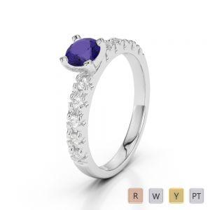 Gold / Platinum Round Cut Tanzanite and Diamond Engagement Ring AGDR-1171