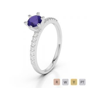 Gold / Platinum Round Cut Tanzanite and Diamond Engagement Ring AGDR-1172