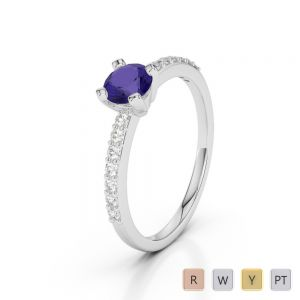 Gold / Platinum Round Cut Tanzanite and Diamond Engagement Ring AGDR-1173