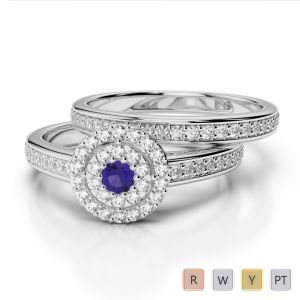 Gold / Platinum Diamond & Gemstone Bridal Set Ring AGDR-1239