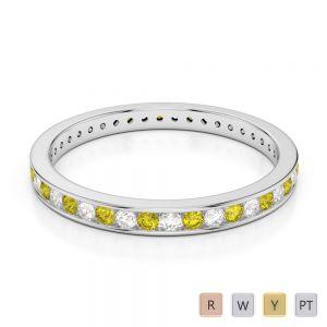 Gold / Platinum Round Cut Yellow Sapphire and Diamond Full Eternity Ring AGDR-1086