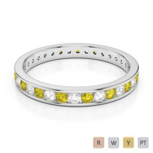 3 MM Gold / Platinum Round Cut Yellow Sapphire and Diamond Full Eternity Ring AGDR-1087