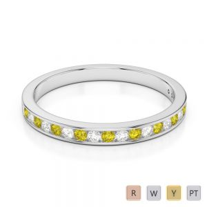 2.5 MM Gold / Platinum Round Cut Yellow Sapphire and Diamond Half Eternity Ring AGDR-1089